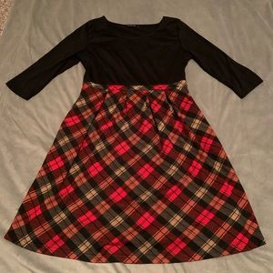 Reborn Black Red Plaid Dress EUC Size XL